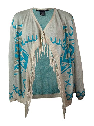 INC International Concepts Women's Fringed Sweater Cardigan (PM, Leaping Tribal) Beiges