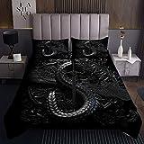 Dragon Black Tagesdecke 240x260cm Japan Cool Steppdecke für Kinder Jungen Mädchen Dolchflügel Weichste Bettwäsche Set Tagesdecke Bettbezug 3St