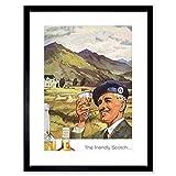 Wee Blue Coo Advert Whisky Scotch Highland Scotland Long John Lámina Enmarcada 12 x 16 Pulgadas