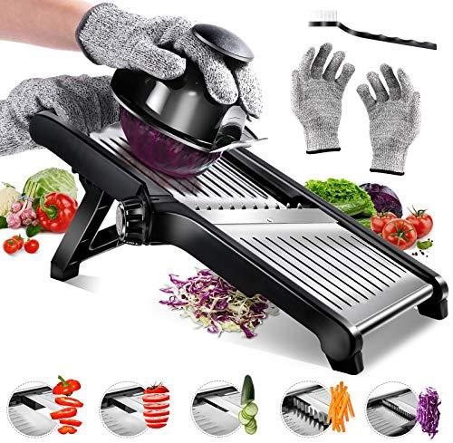 AONE Mandoline Slicer Adjustable Vegetable Slicer - Handheld Stainless Steel Mandolin Food Slicer for Potato Onion - w/Cut-Resistant Gloves & Blade Cleaning Brush