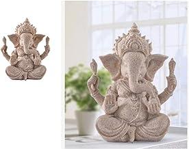 Prettyia 2pc Buddha Elephant Statue Sculpture Ganesha Sandstone Figurine Garden Decor