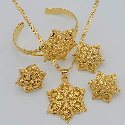 RelianceUK Flores Set Joyería Mujeres Oro Color Colgante Collar/Pendientes/Anillo/Brazalete Africano/Árabe/Etíope Joyería