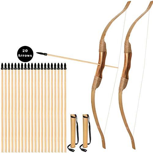 Bogenkönig - Set di 2 frecce e arco in legno per bambini, 20 frecce e 2 scatole, per principianti e bambini