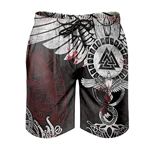 Costume da bagno da uomo vichingo Triangolo Force Cozy Durable - pantaloncini da spiaggia vichingo per ciclismo, bianco, L