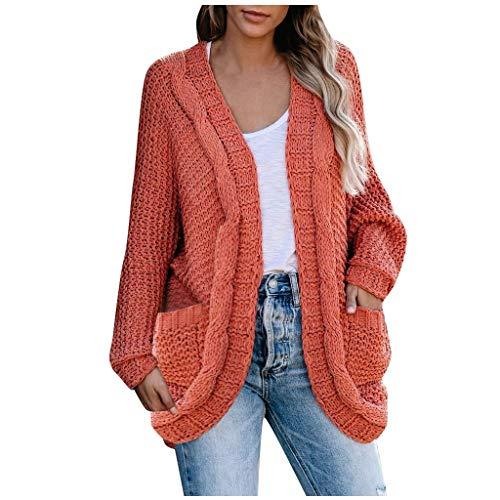 Chaqueta de punto para mujer de Briskorry, de un solo color, con bolsillo naranja S