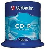Verbatim CD-R Extra Protection - 700 MB, 52-fache Brenngeschwindigkeit mit langer Lebensdauer und Extraschutz, 100er Pack Spindel