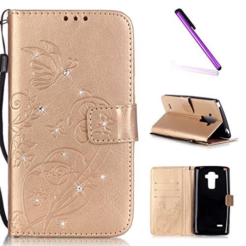 EMAXELERS LG G4 Stylus Hülle Bling Glitzer Diamant Schmetterling PU Leder Handy SchutzHülle für LG G Stylo,mit Standfunktion für LG G4 Stylus LS770,Gold Butterfly with Diamond