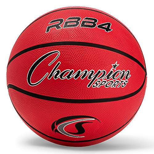 Champion Sports Rubber Intermediate Basketball, Heavy Duty - Pro-Style Basketballs, Various Colors and Sizes - Premium Basketball Equipment, Indoor Outdoor - Sports Education Supplies (Size 6, Red)