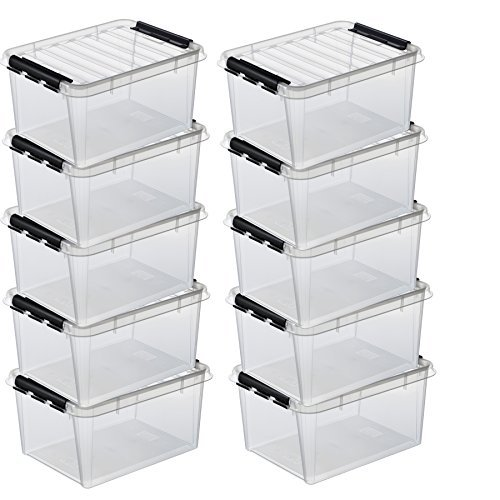 10 x HAMMARPLAST SmartStore Classic 15 Box - 14 Liter - 400 x 300 x 190mm - transparent