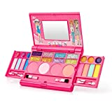 Angelhood Kids Makeup Set,Princess Makeup Set,Washable Non Toxic Makeup Kit, Mirror Makeup Box with Swatches,The Best Choice for The Gift for The Little Girls Learn Makeup.