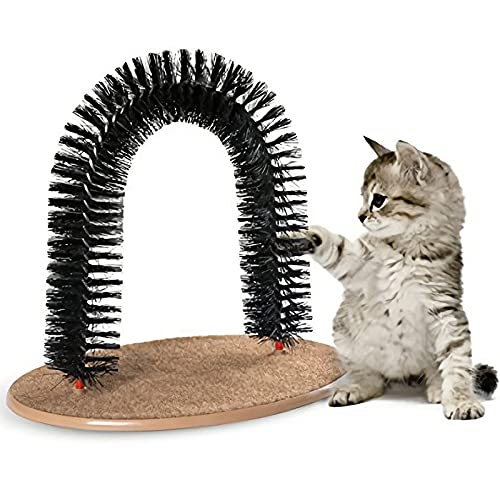 AikoPets Cat Arch Self Groomer Massager Groom Toy Cat Hair Brush Pet Cat Scratcher Toys Fur Grooming Cat Toy Brush Controls Shedding with Scratch Pad and Catnip Interactive Kitten Toys