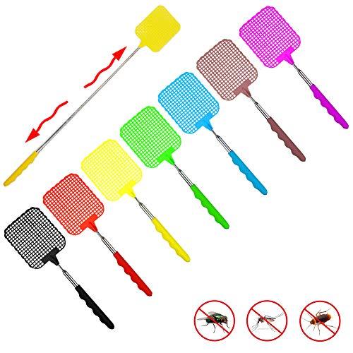 REYOK 7 Pcs Telescopic Fly Swatters, Extendable Fly Swatter Control Manual de Swat Ajustable Ajustable Duradero Mango Extensible Esposa de la casa Ayudante 7 Colors