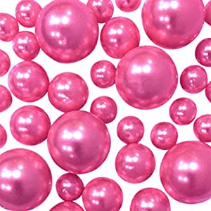Hot Pink Pearls – No Hole Jumbo & Assorted Sizes Pearls Vase Fillers for Centerpiece Decorations – to Float Pearls Order The Transparent Water Gels