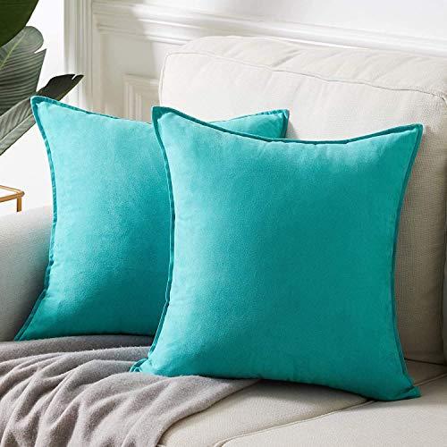 LDRHUY Federe per Cuscino Confezione da 2 Coperture Copricuscini Decorativi Fodere per Cuscino per Federe Cuscini Divano da Letto Casa (Azzurro, 50x50cm)