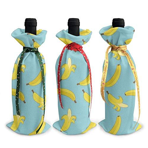 3 bolsas de cobertura para botellas de vino, bolsas de Navidad para bodas, regalos de fiesta, suministros de Navidad, vacaciones y vino.