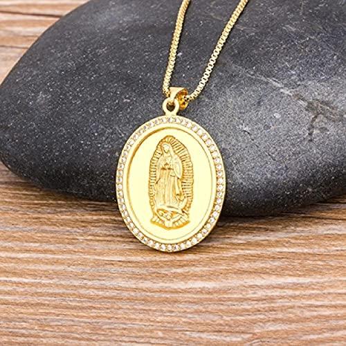 AQING 10 Estilos de Cz Cobre ágata Collar de ágata Virgen Mujeres Hombres Collar de Cristal Cadena Larga joyería católica Estilo de Regalo 1