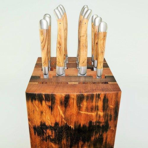 exklusiver, handgefertigter Besteck-Block/Messerblock, bestückt mit 6 Forge de Laguiole Tafelbestecken (Messer+Gabel), Olive oder Wacholder (Besteckest Olive)