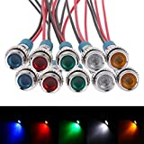 FICBOX 10pcs 6mm 1/4' LED Metal Indicator Light 12V Waterproof Signal Lamp Pilot Dash Directional Car Truck Boat with Wire
