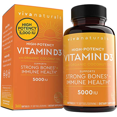Vitamin D3 5000 IU (360 Softgels) - High Potency Vitamin D Supplements, Small Easy to Swallow Softgels & No Taste, Made with Organic Coconut Oil for Enhanced Bioavailability