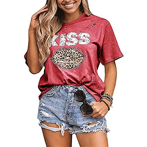 Blusa Mujer Verano Cuello Redondo Agujero Estampado De Letras Labios De Leopardo Mujer Camisa Casual Exquisita Elasticidad Colocación Estilo Callejero Estilo Hip-Hop Mujer Top C-Red XXL