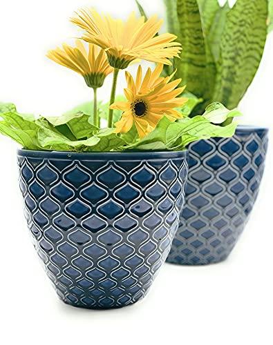 Blue Ceramic Planter Pot Set - Large 8.5' & 7.5' inch Planters w/ Drainage Hole...