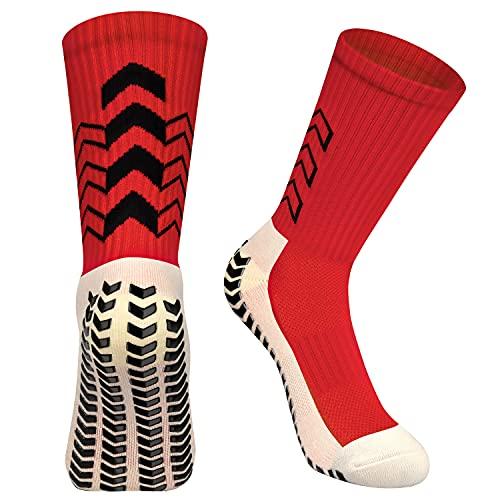 ENONEO Calcetines Futbol Antideslizantes 3 Pares Calcetines Deportivos Antideslizantes Espesar Algodón Transpirable Calcetín Antideslizante Futbol Hombre Mujer Calcetines de Baloncesto (Rojo)