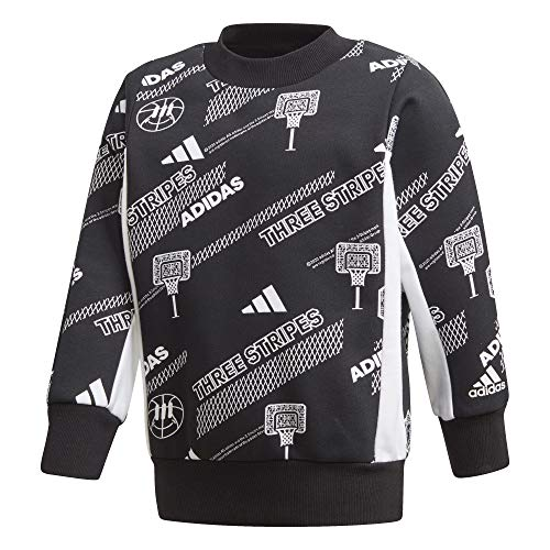 adidas Unisex Kinder LB Crew Sweat Sweatshirt, schwarz/weiß, 134 (8/9 años)