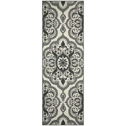 Vivian Medallion Runner Rug Non Slip Hallway Entry Carpet [Made in USA], 2 x 6, Grey