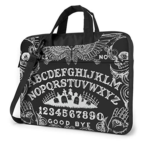 Novelty Laptop Bag 15.6 Inch Laptop Sleeve Case with Shoulder Straps & Handle/Notebook Computer Case Briefcase Compatible with MacBook/Acer/Asus/Hp - Witch Board Black Gothic Goth Occult Witchcraft