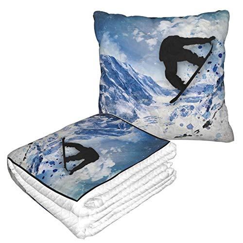 Manta de viaje y almohada premium suave 2 en 1 para avión, snowboarder en vuelo con funda de almohada suave, para sofá, camping, coche, viajes