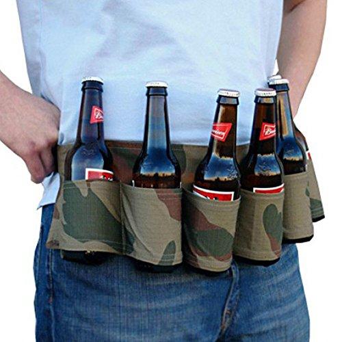 WOOAI 6-Pack Bière Ceinture à Bière pour Camping Taille Sac de Pique-Nique Vaisselle Accessoires, Vert Armée