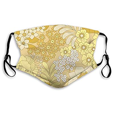 Ybdlho Fashion Printed Yellow Floral Pattern Dust with Filter Element Anti-Dust,Repeatable,Protective Filter