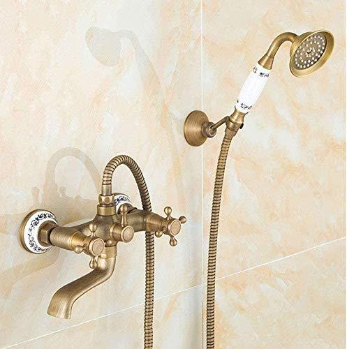 RGERG Mezclador de baño de Estilo Retro Europeo 360 ° Bañera giratoria Ajuste de latón Antiguo de latón con Ducha de Mano Sistema de Ducha Baño Armadura Bañera Grifo