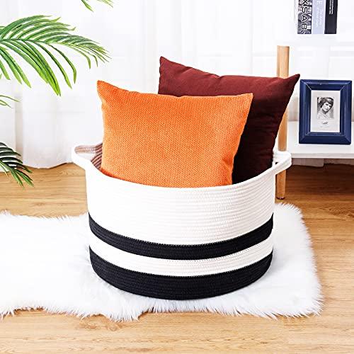 catalpa yao Cesta redonda de algodón tejida con asas, para mantas, juguetes de lavandería, toalla, organizador decorativo para sala de estar, baño, 50,8 x 33 cm, blanco y negro