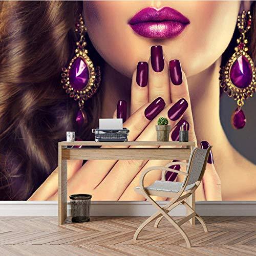 Nagel Beauty Salon behang 3D Wall Papier, Winkel Mural Rolls Sofa TV achtergrond Bekleding Wandbehang, Kamer Decor 280 cm (B) x 180 cm (H)
