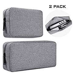 """BIG+SMALL STORAGE BAG: 2-Pack with small + big design, big dimension: 9.05"""" x 4.3"""" x 1.96"""", small dimension: 6.3"""" x 4.3"""" x 1.96"""", perfect fit for most laptop and cellphone accessories such as power bank, mouse, power adapter, hard drive, USB cables, ..."""