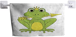 HRoomDecor Wash Cloths Frog Princess Crown with Arrow on White Background in Vector Ultra Absorbent and Eco-Friendly W 14 x L 14 inch