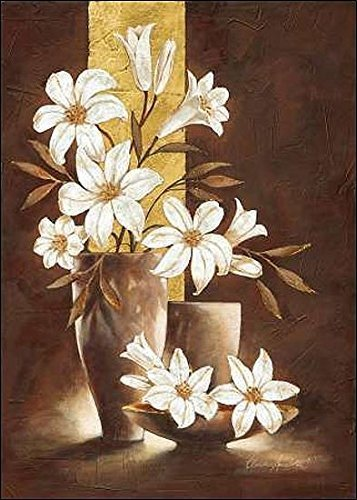 Rahmen-Kunst Keilrahmen-Bild - Claudia Ancilotti: Golden Lily Leinwandbild Lilien Blumen Stillleben modern floral braun (70x100)