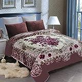 JML Heavy Blanket, Korean Fleece Blanket - Plush Soft Warm 2 Ply Printed Raschel Bed Blankets (Grey Floral, Queen(79'x93'))