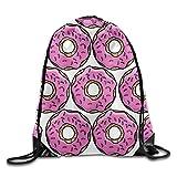 uykjuykj Bolsos De Gimnasio,Mochilas,Gym Waterproof Drawstring Backpack Unisex Shoulder Bags Pink Doughnut 285 Lightweight Unique 17x14 IN