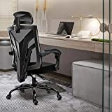 CRYfog Desk Chair Office Chair, High Back Home Office Desk Chairs,Lumar Support Most Comfortable Office Chair,Height Adjustable Computer Desk Chair (Black, no footrest)