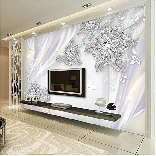 xbwy Mural Wallpaper European Style Jewelry Flowers Wall Paper Living Room Tv Backdrop-280X200Cm