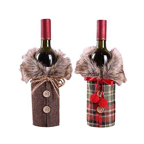 LIZHIGE 2 Pièces Couvertures de Bouteille de Vin de Noël Couverture de Bouteille de Manteau de Bouton Robe de Bouteille de Vin Couverture de Bouteille pour Décorations de Fêtes de Noël