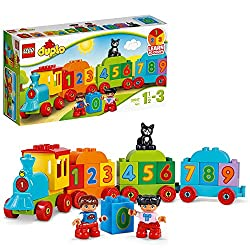 Features buildable locomotive and three wagons Includes bricks decorated with numbers zero to nine Includes two child DUPLO figures, plus a cat figure Use decorated bricks to teach your child about numbers and counting LEGO DUPLO products are special...