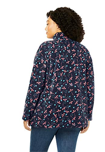 Woman Within Women's Plus Size Quarter-Zip Microfleece Pullover - 1X   , Evening Blue Marled
