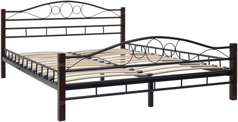 VidaXL Metal Bed Frame with Slatted Base 137x187cm Double Size Bedroom Base