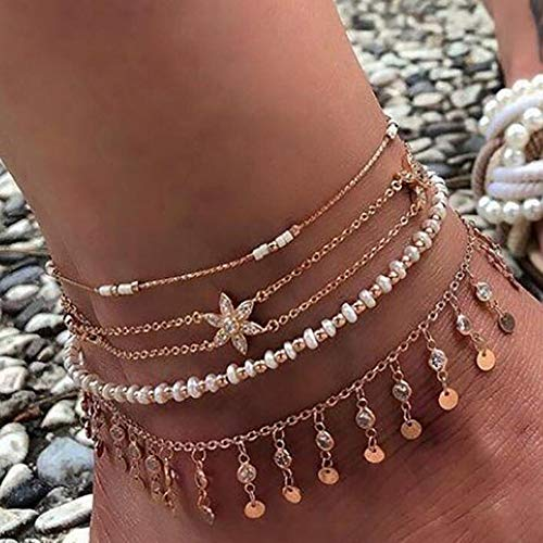 Cathercing 4 Pcs Snow Anklet Bracelets Set for Women Fashion Girls Layered Anklet Bracelets with Tassel Pendant Gold Boho Ankle Necklace Chain Beach Foot Hand Jewelry Gift for Girls
