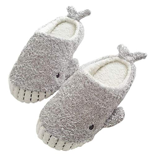 Minetom Donna Pantofole Antiscivolo Invernali da Indoor Outdoor Pantofola di Cotone per La Casa Scarpe Simpatico Cartone Animato di Animali 05 Carino Whale 38-39 EU