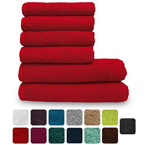 Lanudo Pure Line Handtuch-Set 6 teilig, 2 Duschtücher 70 x 140 cm & 4 Handtücher 50 x 100 cm, Rot