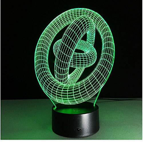 3D Illusion Art Abstract Rounds Led Lámpara De Mesa Touch Night Light Con Magic Circle Shape Teléfono Conexión Bluetooth